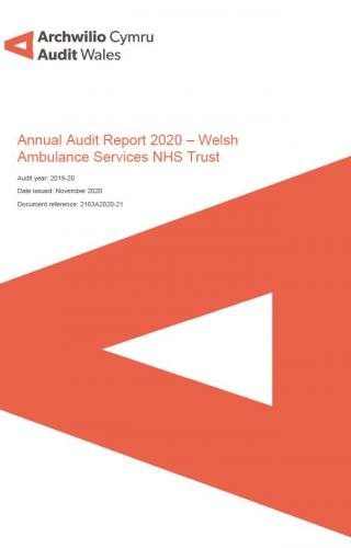Front cover showing Audit Wales logo for the  Welsh Ambulance Services NHS Trust – Annual Audit Report 2020 report